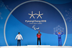 ARENDZ Mark CAN LW6, DAVIET Benjamin FRA LW2, ULSET Nils-Erik NOR LW3,  ParaBiathlon, Biathlon, Podium at  the PyeongChang2018 Winter Paralympic Games, South Korea.