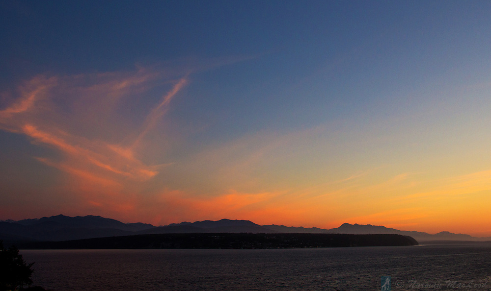 Sunset over the Miller Peninsula from the Cape George community near Port Townsend, Washington