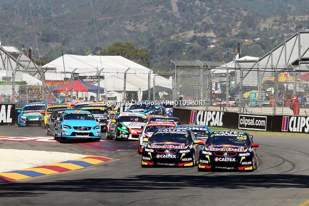 Craig Lowndes (Red Bull Racing Holden) leads the start of the 2014 Clipsal 500 Adelaide ~ V8 Supercar Series Race 1 held on the Adelaide Parklands Circuit, South Australia on Saturday 1 March 2014. Photo: Clay Cross / photosport.co.nz