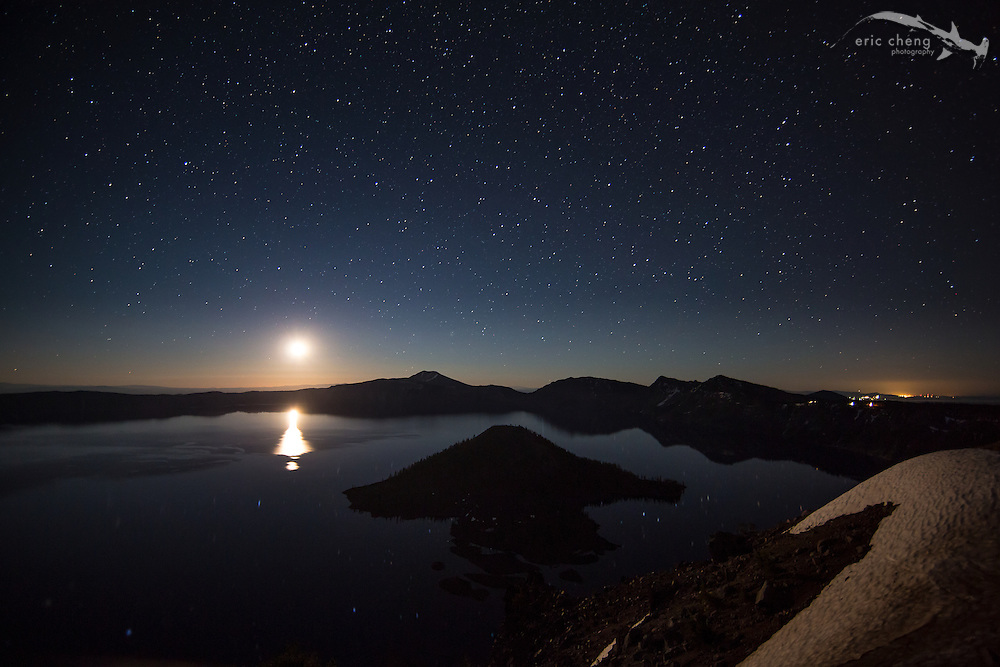Moonrise at night, viewed from Watchman's Overlook, Crater Lake, Oregon.