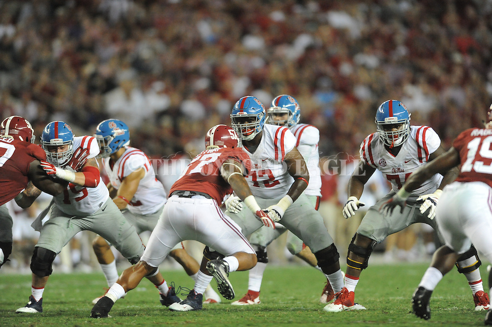 Ole Miss Rebels offensive lineman Aaron Morris (72) vs. Alabama at Bryant-Denny Stadium in Tuscaloosa, Ala. on Saturday, September 19, 2015. Ole Miss won 43-37.
