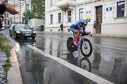 Hayley Jones (GBR) of Team WNT rides in the rain during the prologue of the Lotto Thuringen Ladies Tour - a 6.1 km individual time trial, starting and finishing in Gera on July 12, 2017, in Thuringen, Germany. (Photo by Balint Hamvas/Velofocus.com)