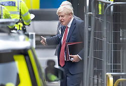 © Licensed to London News Pictures. 02/09/2020. London, UK. Prime Minister Boris Johnson gives a thumbs up as he leaves Parliament by a side entrance to avoid protesters filling Parliament Square. Extinction Rebellion environmental protesters are taking part in a second day of action in central London. Photo credit: Peter Macdiarmid/LNP