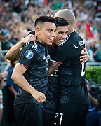 Mexico midfielder Carlos Rodriguez (8) and Mexico defender Luis Rodriguez (21) celebrate with teammate Uriel Antuna (22) after scoring a goal against Cuba in a CONCACAF Gold Cup soccer match in Pasadena, Calif., Saturday, June 15, 2019. Mexico defeated Cuba 7-0. (Ed Ruvalcaba/Image of Sport)
