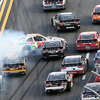 Erik Jones (20) loses control of his car on the front stretch during the Alert Today Florida 300 XFinity Series race at Daytona International Speedway on Saturday, February 21, 2015 in Daytona Beach, Florida.  (AP Photo/Alex Menendez)