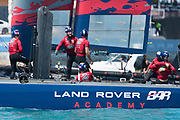 The Great Sound, Bermuda, 21st June 2017, Red Bull Youth America's Cup Finals. Land Rover BAR Academy (GBR) celebrate winning the Red Bull Youth America's Cup Trophy.