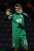 Preston North End goalkeeper Chris Maxwell (22) during the EFL Sky Bet Championship match between Preston North End and Brighton and Hove Albion at Deepdale, Preston, England on 14 January 2017.