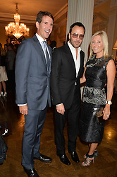 Left to right, CROWN PRINCE PAVLOS OF GREECE, TOM FORD and CROWN PRINCESS MARIE-CHANTAL OF GREECE at a party hosed by the US Ambassador to the UK Matthew Barzun, his wife Brooke Barzun and editor of UK Vogue Alexandra Shulman in association with J Crew to celebrate London Fashion Week held at Winfield House, Regent's Park, London on 16th September 2014.