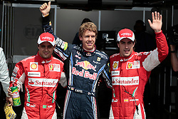 Motorsports / Formula 1: World Championship 2010, GP of Germany, 07 Felipe Massa (BRA, Scuderia Ferrari Marlboro),  05 Sebastian Vettel (GER, Red Bull Racing), 08 Fernando Alonso (ESP, Scuderia Ferrari Marlboro),