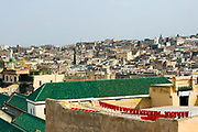 FEZ, MOROCCO - 1ST FEBRUARY 2018 - Green tiled roof on the Al-Kairouine Mosque and University, Fez Medina, Morocco.<br />