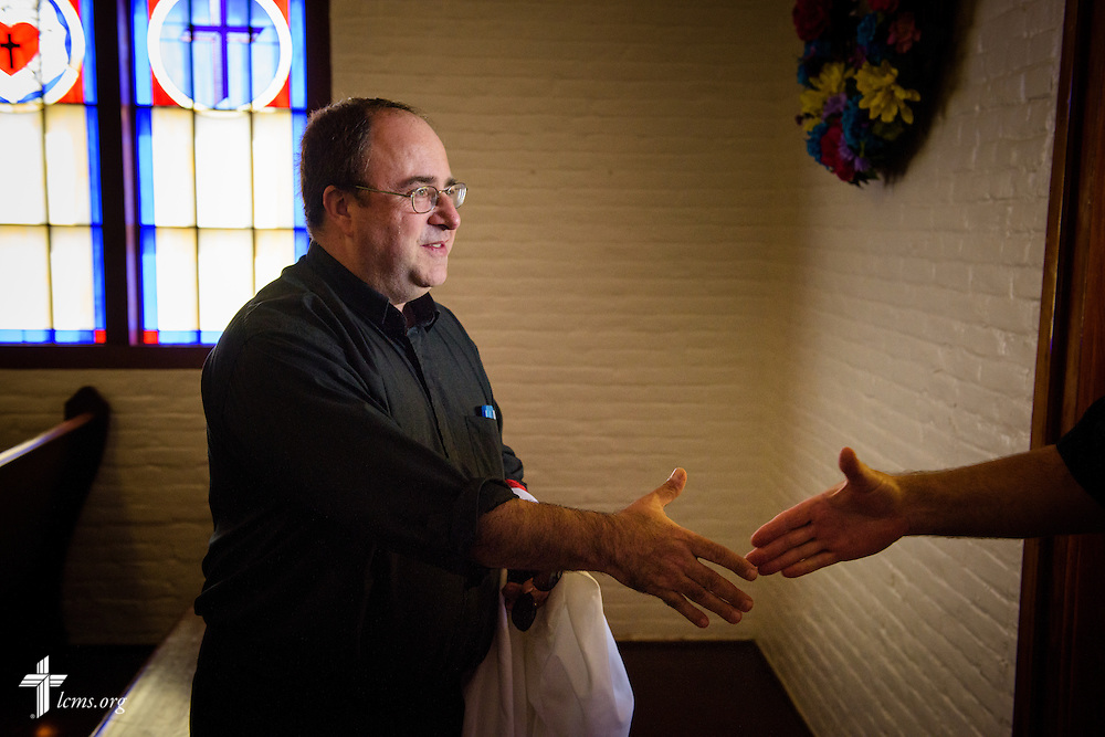 The Rev. Dr. Antonio Lopez, new national missionary pastor at El Calvario Lutheran Church, greets fellow clergy and guests before his installation service on Sunday, July 31, 2016, at the parish in Brownsville, Texas. LCMS Communications/Erik M. Lunsford