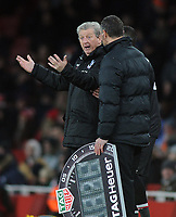 Football - 2017 / 2018 Premier League - Arsenal vs. Crystal Palace<br /> <br /> Palace Manager, Roy Hodgson, complains to the forth official Andre Marriner at The Emirates.<br /> <br /> COLORSPORT/ANDREW COWIE