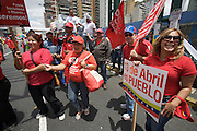 Supporters of Hugo Chavez celebrating the sixth anniversary of the failed coup against Chavez in the historic Center of Caracas.