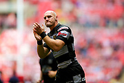 Hull FC loose forward and captain Gareth Ellis (13) applauds the fans before the Ladbrokes Challenge Cup Final 2017 match between Hull RFC and Wigan Warriors at Wembley Stadium, London, England on 26 August 2017. Photo by Simon Davies.