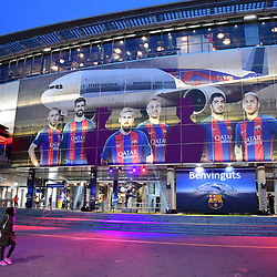 View of outside of the stadium before the Uefa Champions League Round of 16 second leg match between FC Barcelona and Paris Saint Germain at Camp Nou on March 8, 2017 in Barcelona, Spain. (Photo by Dave Winter/Icon Sport)