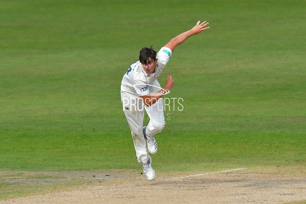 Josh Tongue of Worcestershire bowling during the final day of the Specsavers County Champ Div 1 match between Worcestershire County Cricket Club and Surrey County Cricket Club at New Road, Worcester, United Kingdom on 13 September 2018.