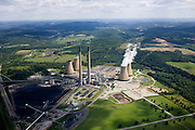 Coal burning plant and stacks