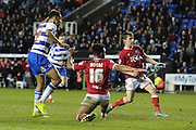 Reading forward Nick Blackman scores the only goal of the game during the Sky Bet Championship match between Reading and Bristol City at the Madejski Stadium, Reading, England on 2 January 2016. Photo by Jemma Phillips.