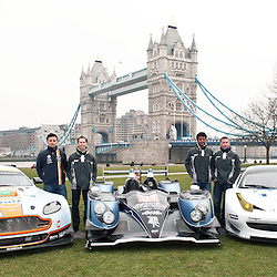 The Aston Martin, Strakka LMP1 and the RAM Racing Ferrari with Stephane Sarrazin, Darren Turner, Jonny Kane, Nick Leventis, John Martin, Alex Brundle with Danny Watts, at the FIA-WEC series launch situated in Potters Fields overlooking Tower Bridge, London on the 22nd March 2013. WAYNE NEAL | STOCKPIX.EU