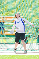 (Sherbrooke, Quebec---10 August 2008) Pat Thompson competing in the youth boys discus at the 2008 Canadian National Youth and Royal Canadian Legion Track and Field Championships in Sherbrooke, Quebec. The photograph is copyright Sean Burges/Mundo Sport Images, 2008. More information can be found at www.msievents.com.