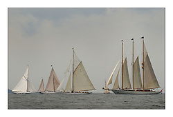 Th efife Fleet pre start on the second days racing...This the largest gathering of classic yachts designed by William Fife returned to their birth place on the Clyde to participate in the 2nd Fife Regatta. 22 Yachts from around the world participated in the event which honoured the skills of Yacht Designer Wm Fife, and his yard in Fairlie, Scotland...FAO Picture Desk..Marc Turner / PFM Pictures