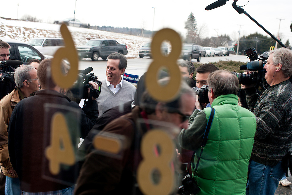 Republican presidential candidate Rick Santorum visits Pelletier's Sports Shop on Friday, January 6, 2012 in Jaffrey, NH.