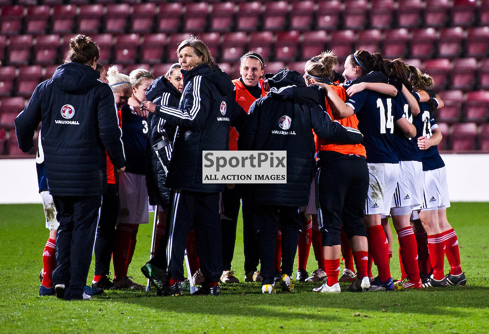 National Coach Anna Signeul calls the whole squad to celebrate. Scotland Women v Republic of Ireland Women, UEFA Women's European Championship 2011/13 Qualifier