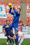 Gary Woods of Hamilton Academical FC catches a cross during the Ladbrokes Scottish Premiership League match between Hamilton Academical FC and Heart of Midlothian FC at New Douglas Park, Hamilton, Scotland on 4 August 2018. Picture by Malcolm Mackenzie.