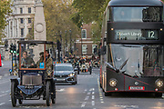 Driving down Whitehall - Bonhams London to Brighton Veteran Car Run celebrates the 122nd anniversary of the original Emancipation Run of 1896 which celebrated the passing into law the Locomotives on the Highway Act so raising the speed limit for 'light automobiles' from 4mph to 14mph and abolishing the need for a man to walk in front of all vehicles waving a red flag. The Movember Foundation as our Official Charity Partner.