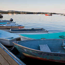 Skiffs on a dock in Mansett, Maine. Mount Desert Island.