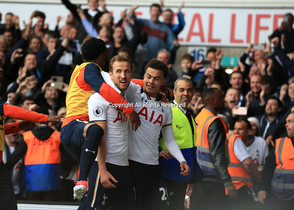 April 30th 2017, White Hart Lane, Tottenham, London England; EPL Premier League football Tottenham Hotspur versus Arsenal; Harry Kane of Tottenham Hotspur celebrates scoring his sides 2nd goal in the 55th minute from a penalty to make it 2-0 with Dele Alli of Tottenham Hotspur