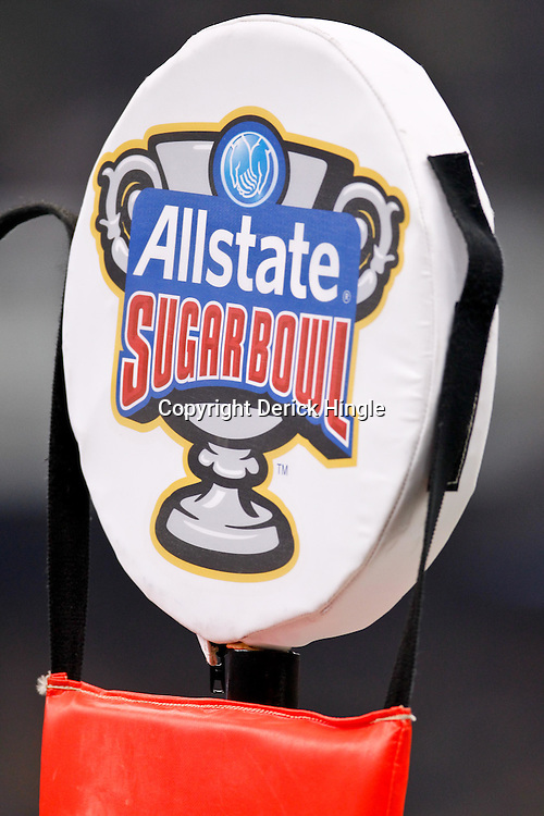January 3, 2012; New Orleans, LA, USA; A detail of Allstate Sugar Bowl logo during the Sugar Bowl between the Michigan Wolverines and the Virginia Tech Hokies at the Mercedes-Benz Superdome. Michigan defeated Virginia 23-20 in overtime. Mandatory Credit: Derick E. Hingle-US PRESSWIRE