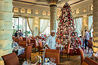 DUBAI, UAE - DECEMBER 18, 2015: A Christmas tree stands in the main room next to the iconic palm columns of the Arboretum restaurant. The Al Qasr brunch was recently awarded Best Brunch in Dubai by BBC Good Food Middle East.