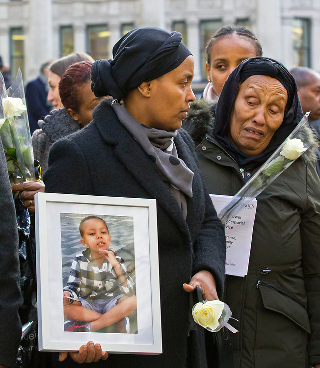 Grenfell memorial at St Paul's Cathedral 14 December 2017. Attended by the survivors and the bereaved of the Grenfell Tower fire. Also  joined by members of the royal family, faith leaders and the prime minister, marking six months since the catastrophe.