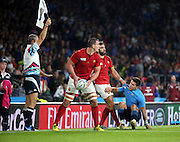 Yoann Huget (France's winger) helping Tommaso Allan (Italy's fly half) to his feet by pulling him by his shirt during the Rugby World Cup Pool D match between France and Italy at Twickenham, Richmond, United Kingdom on 19 September 2015. Photo by Matthew Redman.