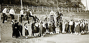 outdoor gym class with junior high school students 1958 Japan