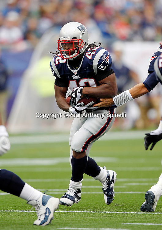 New England Patriots running back BenJarvus Green-Ellis (42) runs the ball during the NFL regular season week 3 football game against the Buffalo Bills on September 26, 2010 in Foxborough, Massachusetts. The Patriots won the game 38-30. (©Paul Anthony Spinelli)