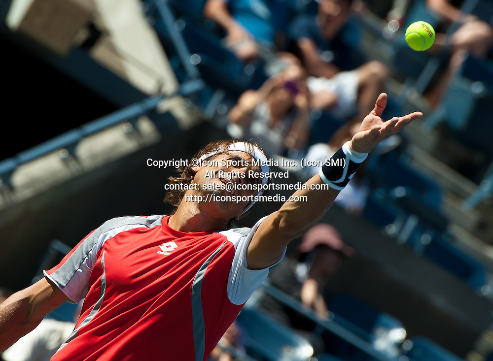 September 9, 2012: Spain's David Ferrer (ESP) was defeated by Novak Djokovic of Serbia (SRB) in their semifinal Men's Singles match on Day 14 of the 2012 U.S. Open Tennis Championships at the USTA Billie Jean King National Tennis Center in Flushing, Queens, New York, USA. ***** SWITZERLAND OUT *****