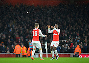 Arsenal Midfielder Aaron Ramsey and Arsenal Forward Joel Campbell celebrate the 2nd Arsenal goal during the The FA Cup match between Arsenal and Sunderland at the Emirates Stadium, London, England on 9 January 2016. Photo by Adam Rivers.