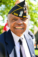 Merrick, New York, USA. May 27, 2013. Veteran Booker T. Gibson at Annual Memorial Day Parade 2013, hosted by American Legion Merrick Post No. 1282, with ceremony at Merrick Veteran Memorial Park.