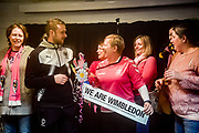 AFC Wimbledon Midfielder Dean Parrett (18) meets the match day sponsors after the EFL Sky Bet League 1 match between AFC Wimbledon and Fleetwood Town at the Cherry Red Records Stadium, Kingston, England on 30 March 2018. Picture by Stephen Wright.