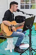 Musician Callum Baptie at the music festival; the Long Cram Jam