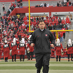 Dec 5, 2009; Piscataway, NJ, USA; Rutgers head coach Greg Schiano takes the field before first half NCAA Big East college football action between Rutgers and West Virginia at Rutgers Stadium.