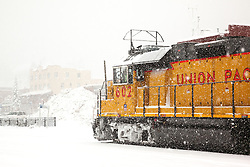 """Train in Snowy Truckee 2"" - Photograph of a Union Pacific train in a snowy Downtown Truckee, California."