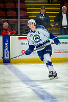 KELOWNA, BC - OCTOBER 16: Connor Horning #36 of the Swift Current Broncos warms up against the Kelowna Rockets at Prospera Place on October 16, 2019 in Kelowna, Canada. (Photo by Marissa Baecker/Shoot the Breeze)