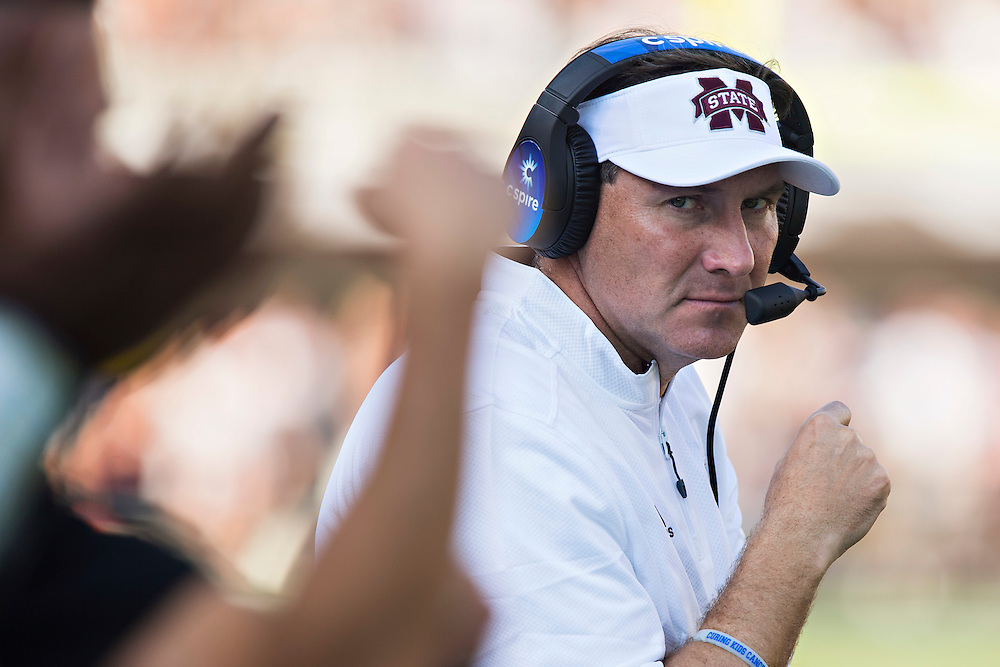 STARKVILLE, MS - SEPTEMBER 19:  Head Coach Dan Mullen of the Mississippi State Bulldogs on the sidelines during a game against the Northwestern State Demons at Davis Wade Stadium on September 19, 2015 in Starkville, Mississippi.  The Bulldogs defeated the Demons 62-13.  (Photo by Wesley Hitt/Getty Images) *** Local Caption *** Dan Mullen