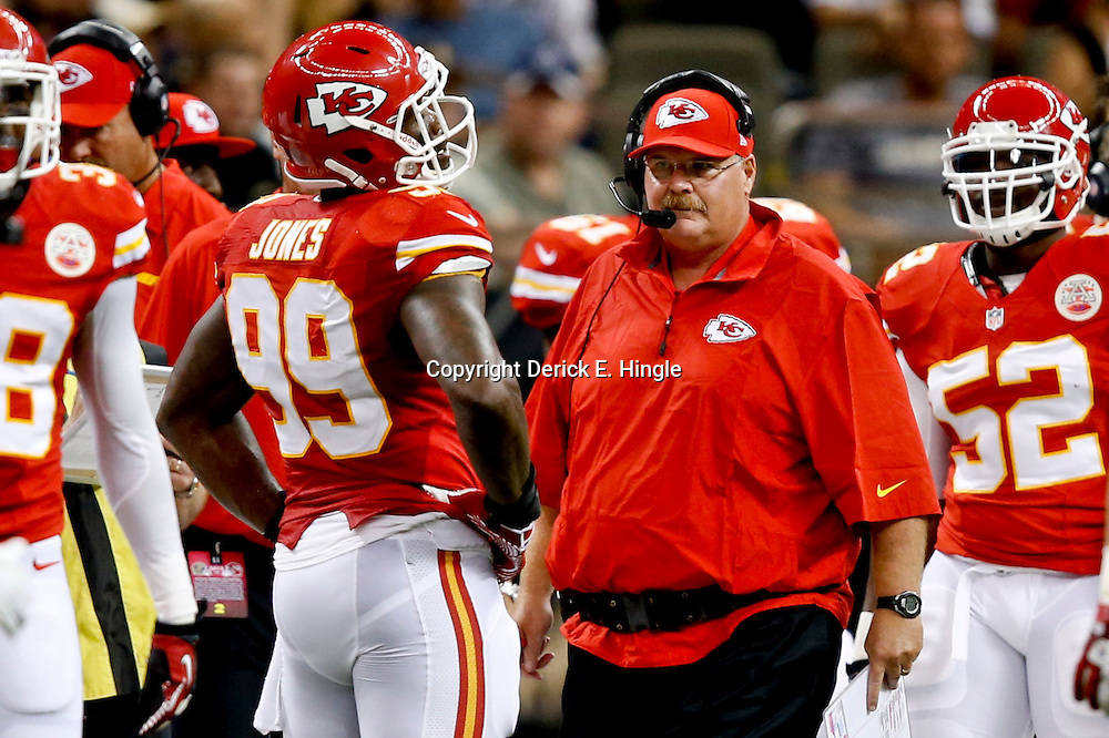 Aug 9, 2013; New Orleans, LA, USA; Kansas City Chiefs head coach Andy Reid walks the sideline during the second quarter of a preseason game against the New Orleans Saints at the Mercedes-Benz Superdome. Mandatory Credit: Derick E. Hingle-USA TODAY Sports