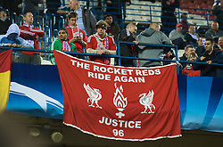 MADRID, SPAIN - Wednesday, October 22, 2008: Liverpool supporters and a banner 'The Rocket Reds Ride Again, Justice 96' during the UEFA Champions League Group D match against Club Atletico de Madrid at the Vicente Calderon. (Photo by David Rawcliffe/Propaganda)