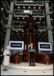 HM The Queen and the Duke of Edinburgh listen to The Chairman of Lloyds of London John Nelson speech at the Lloyds of London building in the City of London, Thursday, 27th March 2014. Picture by Andrew Parsons / i-Images
