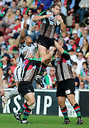 Twickenham, GREAT BRITAIN, Quins, George ROBSON, collects the high ball, during the Guinness Premiership match,  Harlequins vs Bristol Rugby, at The Stoop Stadium, Surrey on Sat 13.09.2008. [Photo, Peter Spurrier/Intersport-images]